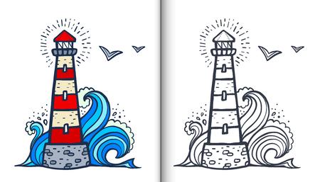 Illustrazione del libro da colorare di vettore del faro di stile bianco e rosso di Doodle con il campione colorato e la versione chiara isolata su fondo bianco Vettoriali