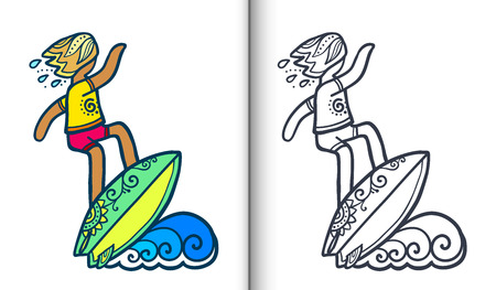 Vector surfing illustration with surfer on wave in doodle style. Coloring book pages with clear lineart and colored sample.