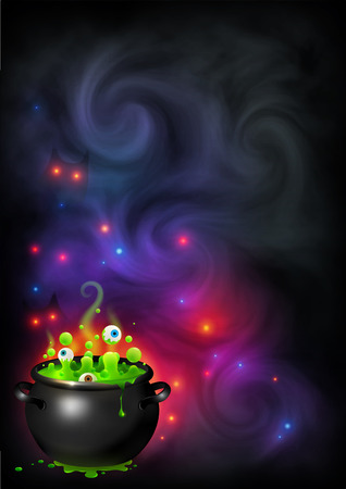 Green bubbling eyes witch brew in black pot on dark violet smoke and magic lights backdrop. Vector Halloween poster background.