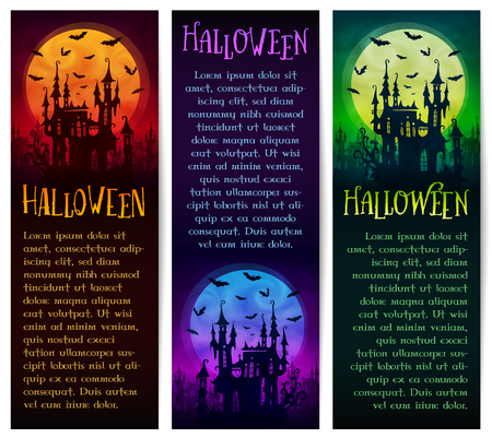 Set of vertical vector Halloween banners with big moon, horror house and bats silhouettes on dark background