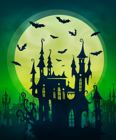 Big lime moon with dark scary house and bats silhouettes on green background. Halloween poster vector backdrop Ilustração Vetorial