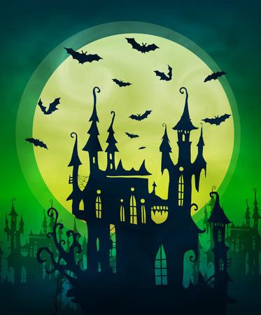 Grande luna calce con casa spaventosa scura e sagome di pipistrelli su sfondo verde. Sfondo vettoriale di poster di Halloween Vettoriali