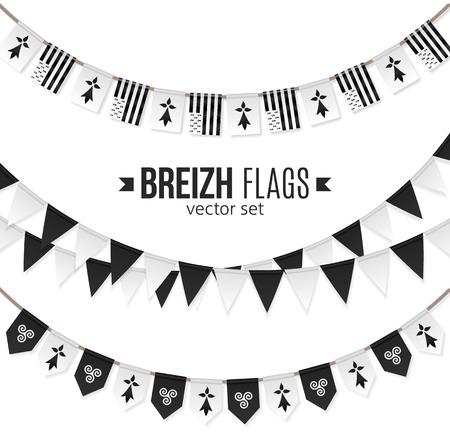 Vector vlaggen en symbolen van Bretagne op slingers met triskels en hermines Vector Illustratie