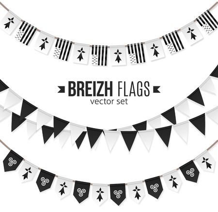 Vector flags and symbols of Brittany on garlands with triskels and hermines