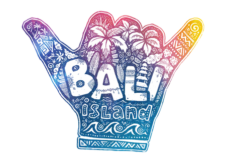 Surfers hang loose shaka hand vector symbol with white Bali island lettering inside and surfing theme doodle style illustrations. 矢量图像