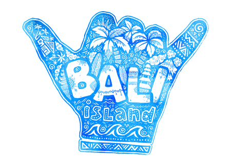 Blue watercolor hang loose shaka hand silhouette with white lettering Bali island inside. Vector doodle style surfing symbol.