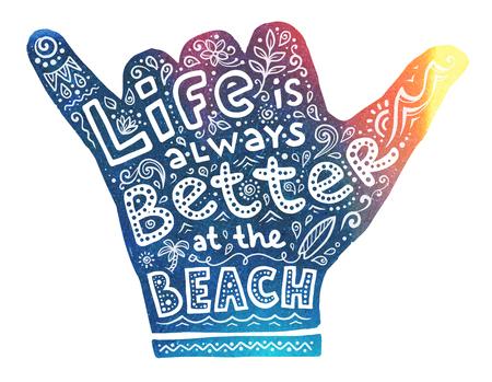 カラフルなサーファーは、内側に白い文字で手のシルエットをシャカ:生活は常にビーチと落書きスタイルのサーフボードや波で優れています.