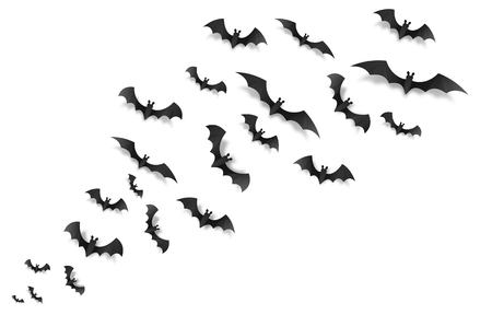 Black paper bats flying across the screen, vector Halloween elements on white background.