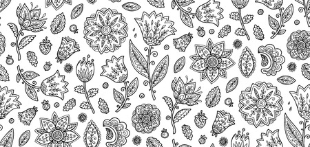 Coloring book style ornate black flowers on white background vector seamless pattern tile. Иллюстрация