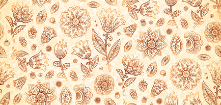 Indian henna colors boho vintage ornate flowers vector seamless pattern tile