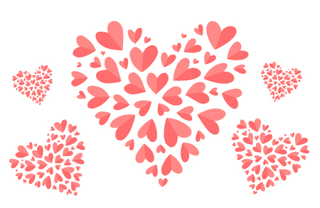 Trendy coral color vector heart shapes filled with small folded hearts.