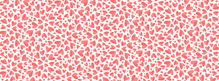 Trendy coral color little hearts confetti Valentines Day vector seamless pattern tile.
