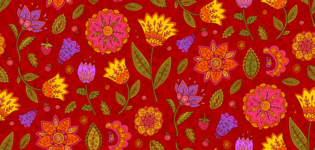 Red vector floral textile seamless pattern with colorful ornate flowers in vintage style.