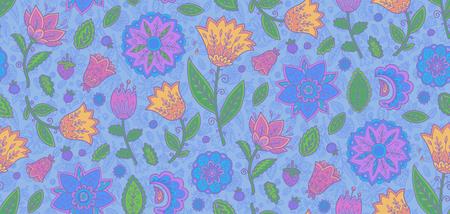 Blue vintage ornate violet flowers vector seamless textile pattern tile. Ilustração