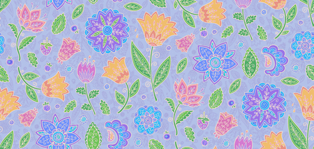 Light vintage floral seamless pattern with pastel violet, pink and yellow ornate flowers.