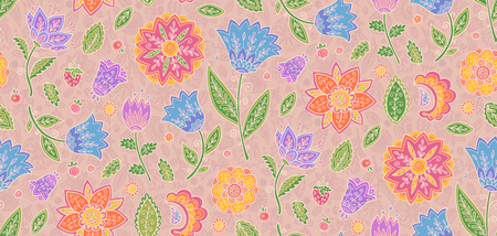 Doodle flowers in vintage style pastel colors vector floral textile seamless pattern tile.