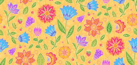 Bright colors vintage textile floral ornament vector seamless pattern tile.