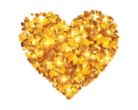 Golden foil confetti hearts vector heart shape isolated on white background.
