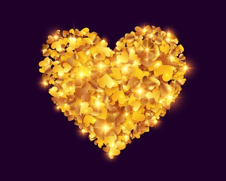 Golden foil confetti hearts vector heart shape isolated on black background. Иллюстрация