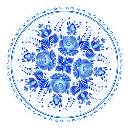 Blue round floral ornament in Russian gzhel style, vector plate print template. Иллюстрация