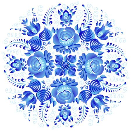 Vintage blue flowers ornament vector floral rosette in Russian gzhel style isolated on white background.