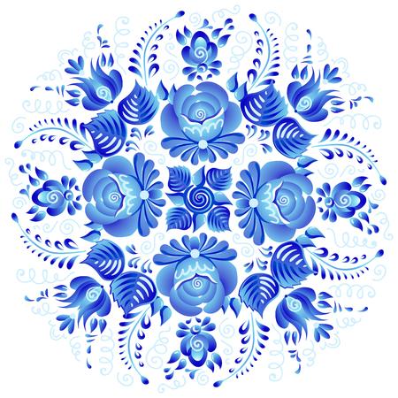 Vintage fleurs bleues ornement vecteur rosette florale dans le style russe gjel isolé sur fond blanc.