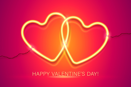 Happy Valentines Day vector greeting card with couple of neon hearts on red background.
