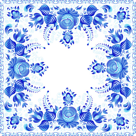 Blue vector floral square napkin in Russian gzhel style.