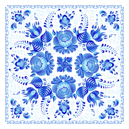 Blue painted flowers in Russian gzhel style vector square napkin pattern. Иллюстрация
