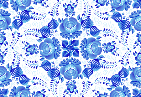 Blue painted flowers on white background in Russian traditional gzhel style vector seamless pattern tile.