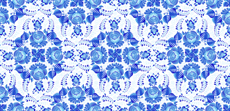 Blue painted flower rosettes in Russian gzhel style vector seamless pattern. Иллюстрация