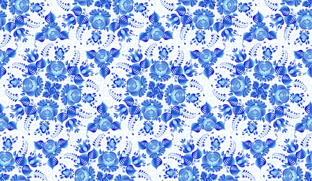 Blue painted flowers in Russian gzhel style vector repeated seamless pattern tile on white background.