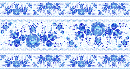 Blue painted flowers in Russian gzhel style vector seamless lines patterns borders set on white background. Иллюстрация