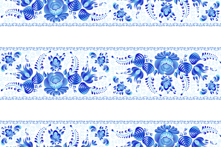 Blue painted flowers in Russian gzhel style vector seamless lines pattern tile with white background.