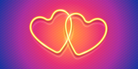 Two neon style Valentines day vector hearts on pink and blue textured background. Иллюстрация