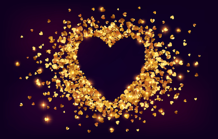 Golden shining hearts confetti with cutout heart shape, vector Valentines day greeting card background. Иллюстрация