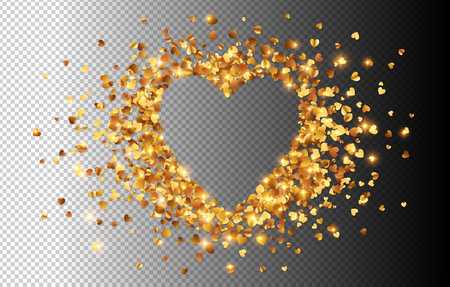 Golden hearts confetti vector heart shape frame isolated on transparency greed background.