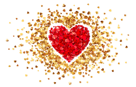 Corazón púrpura en el marco de pequeños corazones de confeti dorado, plantilla de tarjeta de día de San Valentín de vector.