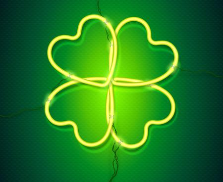 Shining green neon lamp vector clover, St. Patricks Day symbol. Ilustração
