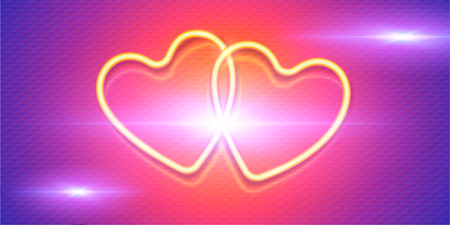Shining yellow neon hearts on pink and violet background, vector symbols of love on Valentines day horizontal banner. Иллюстрация