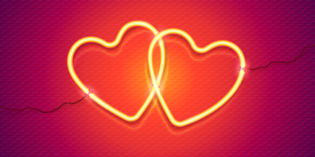 Vector couple of yellow neon hearts with wires on red background, shining symbols of love for Valentines day banner. Иллюстрация