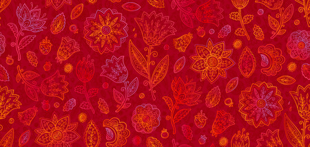 Red and orange doodle flowers in line art style vector seamless vintage pattern tile.