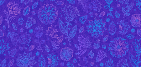 Blue and violet doodle flowers in line art style vector seamless vintage pattern tile.