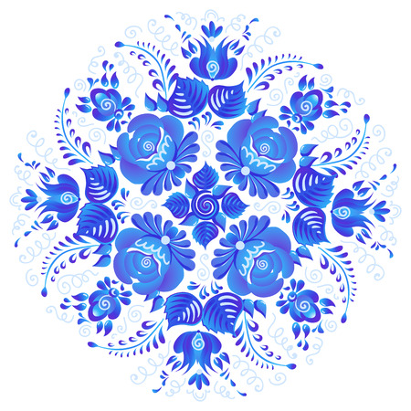 Blue painted flowers vector rosette in Russian Gzhel style isolated on white background.