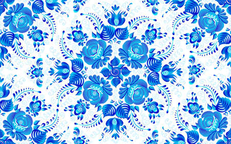 Blue painted flowers in Russian gzhel style vector seamless pattern tile.