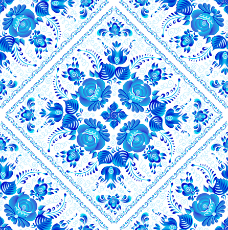 Blue painted flowers on square ceramic tiles vector seamless pattern. Иллюстрация