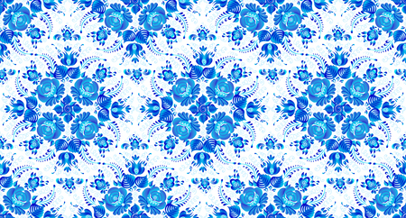 Blue vector seamless pattern tile with painted flowers in Russian gzhel style. Иллюстрация