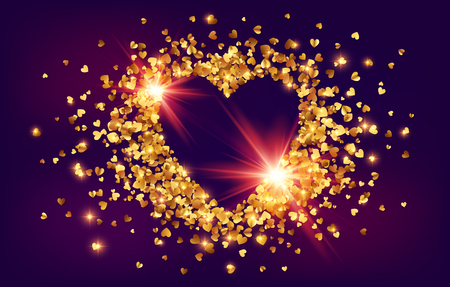 Shining golden foil confetti Valentines day shining heart shape frame on dark background.