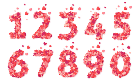 Pink hearts confetti vector Valentines Day numbers set isolated on white background.