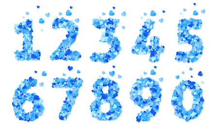 Blue hearts confetti vector Valentines Day numbers set isolated on white background. Иллюстрация